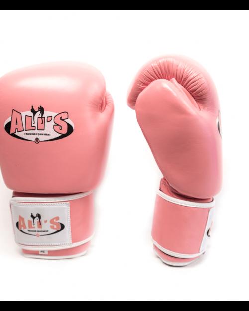 Roze bokshandschoenen van Leer