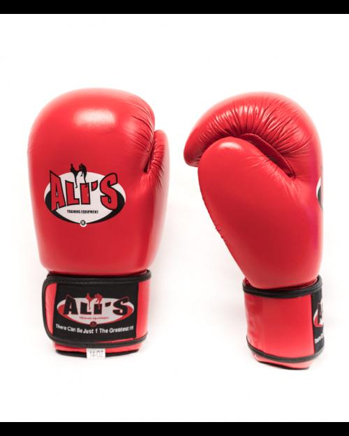 Rode bokshandschoenen van leer